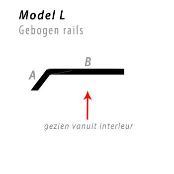 Model bocht L gebogen rails