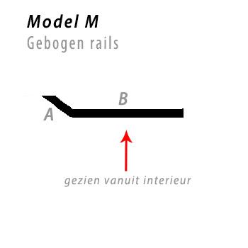 Model bocht M gebogen rails