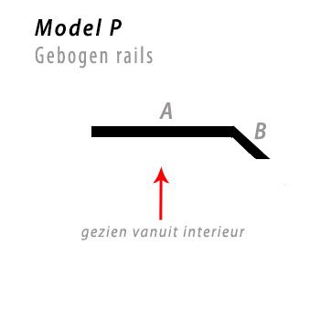 Model bocht P gebogen rails